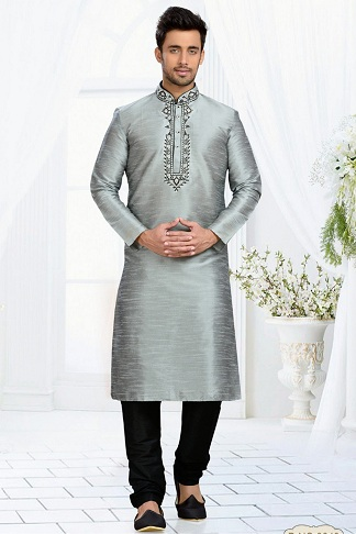 Art Silk Grey Colour Men's Kurta