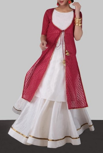 Banarasi Cut-Work Cape With Kurta & Skirt