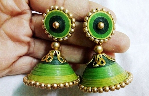 quilling earrings jhumkas