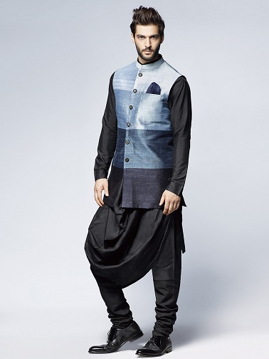 Black Draped Kurta with Waistcoat Style