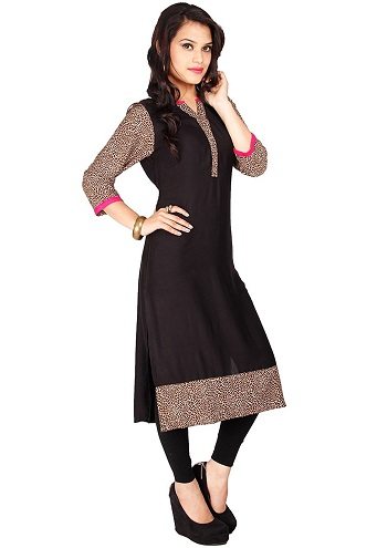 Black Kurti with Animal Print