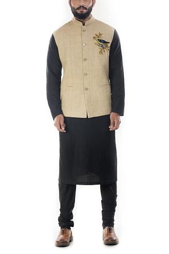 Black Solid Kurtas with Beige Motifs Waistcoat