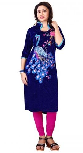 Blue Velvet Embroidered Kurti