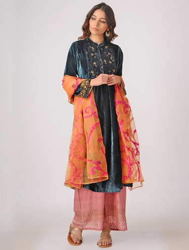 Blue Silk Velvet Kurti with Embroidery