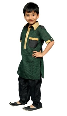 Boy's Pathani Kurta & Pyjamas Set - Green & Black