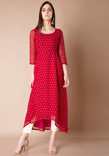 Bright Red High Low Kurti Tunics