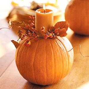 Candle Holding Falls Pumpkin Crafts