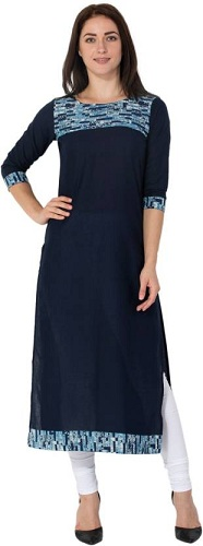 Casual Printed Women's Kurti (Blue)