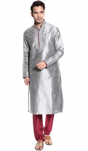 Casual Wears Men's Silver Kurta