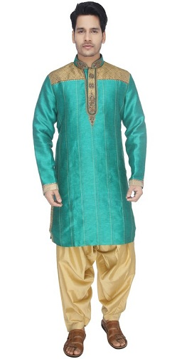 Ceramic Green Kurta With Cream Patiala
