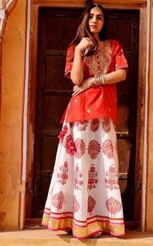 Chanderi Silk Skirt and Short Kurti