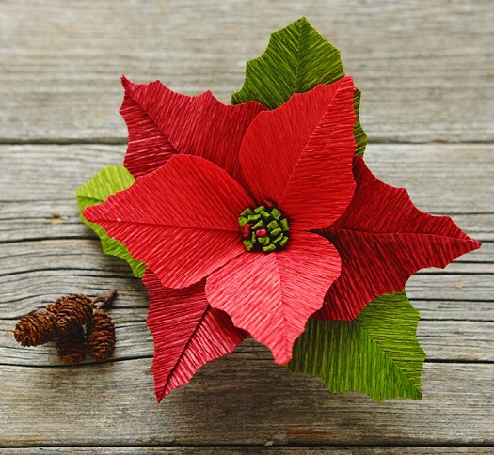 Crepe Paper Poinsettia Crafts