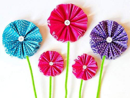 Cup Cake Liners' Flower Crafts Ideas