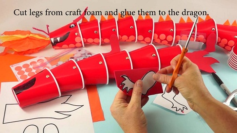 Cup Dragon Puppet Crafts
