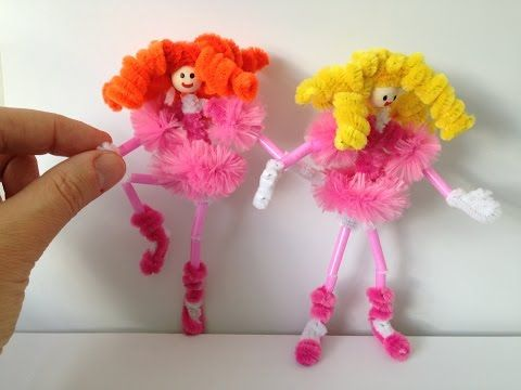 Curly Ballerina Doll Pipe Cleaner Crafts