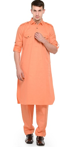 Dark Peach Pathani Kurta