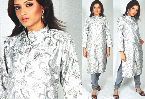 Designer Silver Kurta for Women