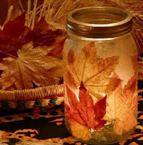 Dried Leaves and Glass Jar Decor Craft Ideas