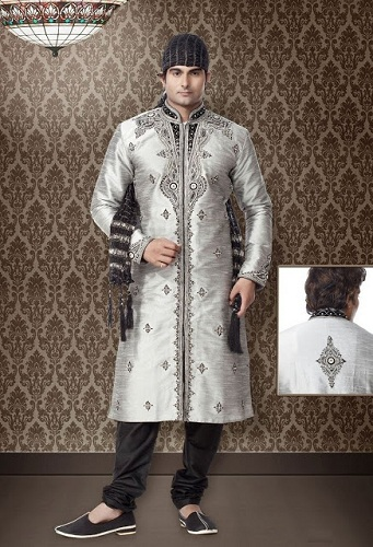 Eid Wear Men's Silver Kurta Collection