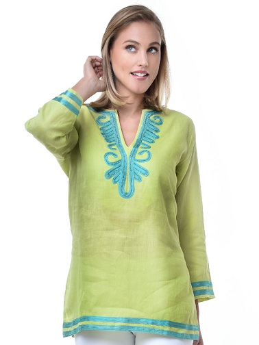 Embellished Sea Foam Color Kurti Tunics