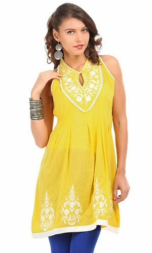 Embroidered Closed Neck Kurti Tunics