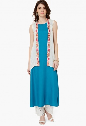 Embroidered Sleeveless Kurta with Shrug