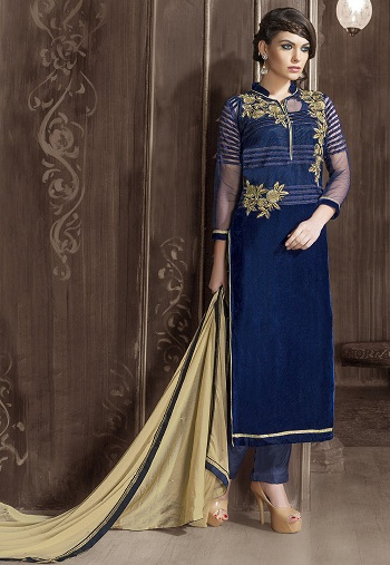 Embroidered Straight Cut Velvet and Net Kurti