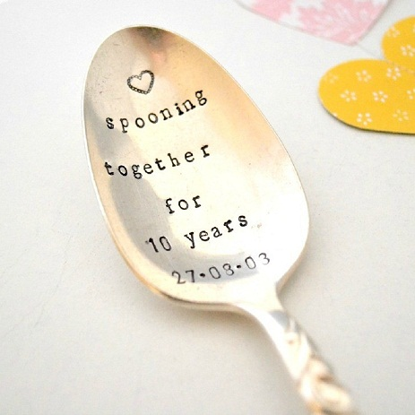The 10th Wedding Anniversary Gift Can Be Made In Tin So This Cool Little Spoon That Is Engraved With Loving Words Just Right You Personalize