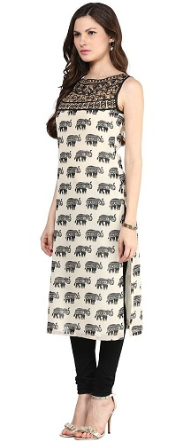 Faux Georgette Long Sleeveless Kurti