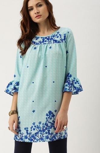 Floral Print Blue Kurti Tunics