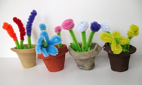 Flower Pots Pipe Cleaner Crafts