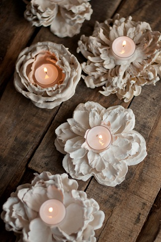 Flower Votive Plaster of Paris Crafts