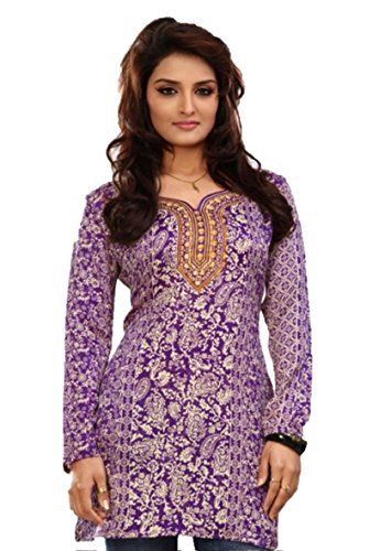 Full Sleeves Purple Kurti Tunics