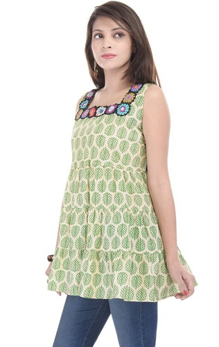 Green Cotton Sleeveless Kurti Tunics