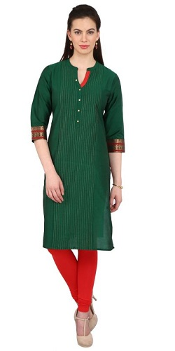 Green Solid Kurta