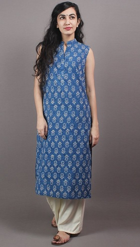 Hand Block Printed Sleeveless Kurti