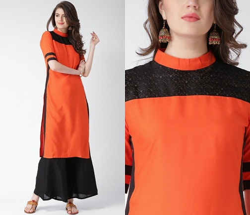 High Neckline with Lace Kurta Design
