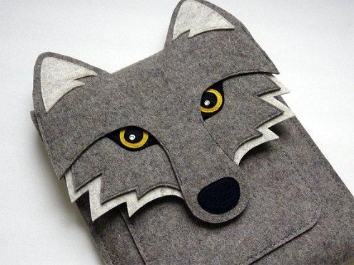 I-pad Sleeve Wolf Felt Crafts
