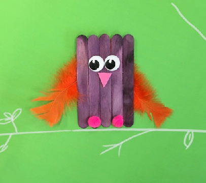 Ice Cream Stick Owl Craft