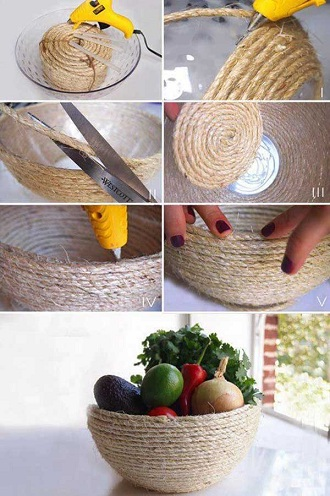 Jute Fruit Basket Craft Ideas