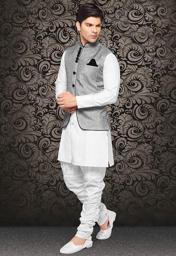 Kurta with Linen Nehru Jacket