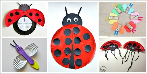 Lady Bug Paper Plate Craft & 9 Cute Insects and Bugs Crafts For Kids And Toddlers | Styles At Life
