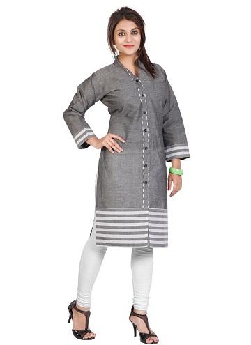 Long Sleeve Cotton Grey Women Kurti