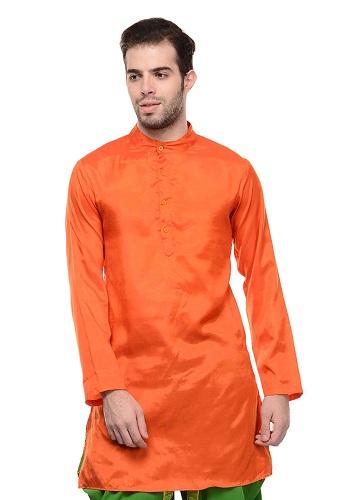 Men's Plain Orange Kurta
