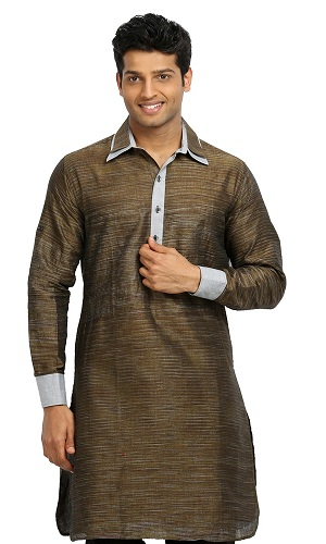 Men's Pathani Kurta - Golden