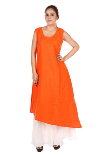 Orange and white Kurta Skirt