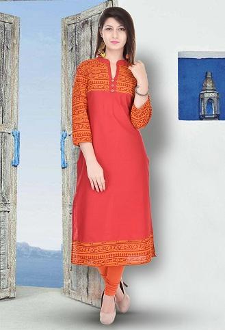 Orange Kurta with ¾ Sleeve