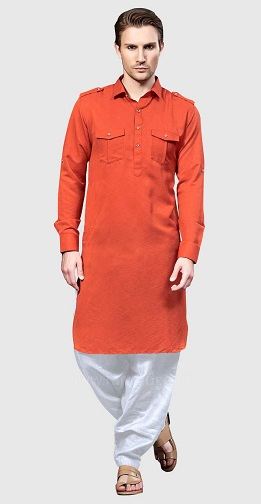 Pathani Kurta in Rust Color