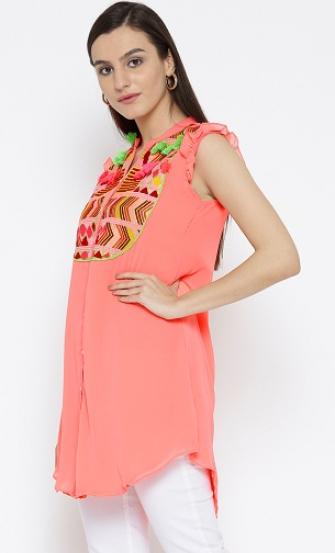 Peach Colour Embroidered Sleeveless Kurta