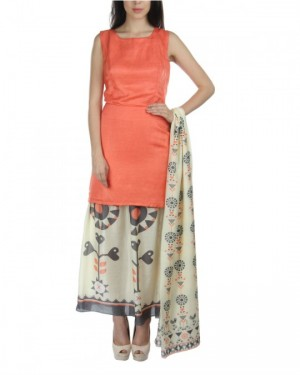 Peach Kurta And Ankle Length Skirt